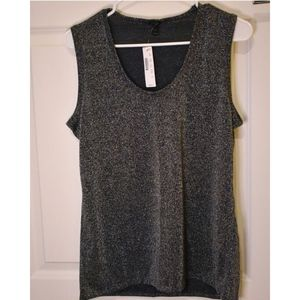 J. Crew Sparkly Tank, M, Black and Silver, NWT